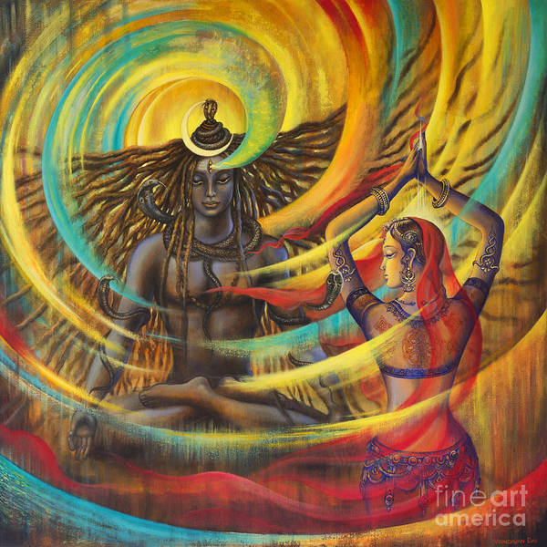 Om Wall Art - Painting - Shiva Shakti by Vrindavan Das