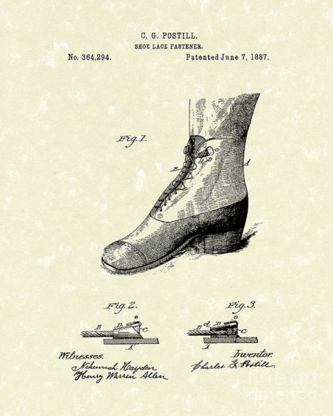 Drawing - Shoe Lace Fastener 1887 Patent Art by Prior Art Design