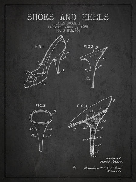 Lace Digital Art - Shoes And Heels Patent From 1958 - Charcoal by Aged Pixel