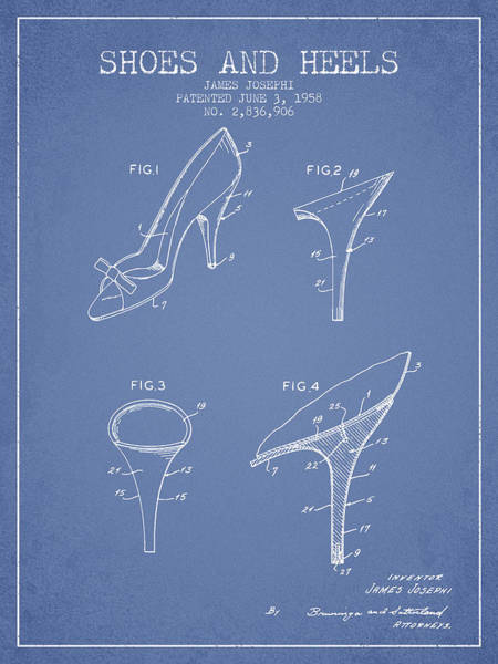 Lace Digital Art - Shoes And Heels Patent From 1958 - Light Blue by Aged Pixel