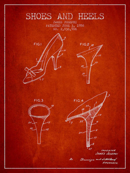 Lace Digital Art - Shoes And Heels Patent From 1958 - Red by Aged Pixel