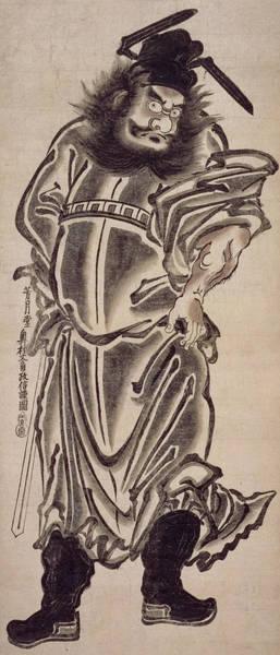 Woodblock Painting - Shoki The Demon Queller by Okumura Masanobu