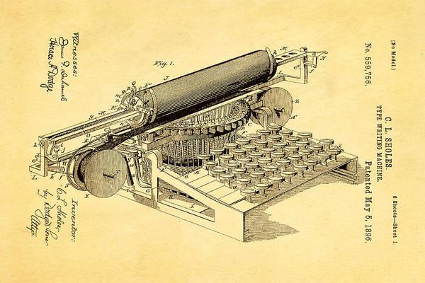 1896 Photograph - Sholes Type Writing Machine Patent Art 1896 by Ian Monk