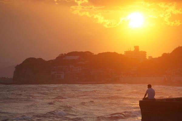 Kamakura Wall Art - Photograph - Shonan Sunset Beach And A Man by Taro Hama @ E-kamakura