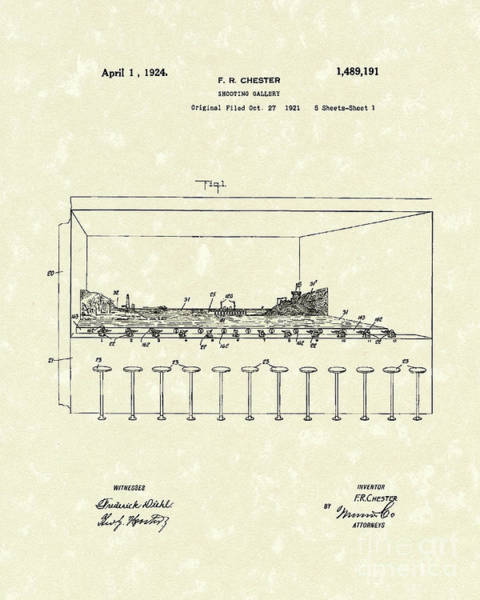 Wall Art - Drawing - Shooting Gallery 1924 Patent Art by Prior Art Design