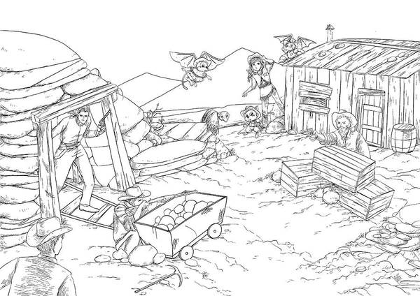 Drawing - Shootout At The Mine by Reynold Jay