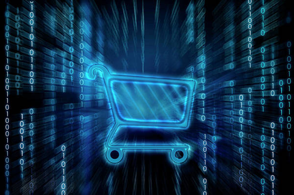 Buy Photograph - Shopping Cart On Binary Digits by Fanatic Studio / Science Photo Library
