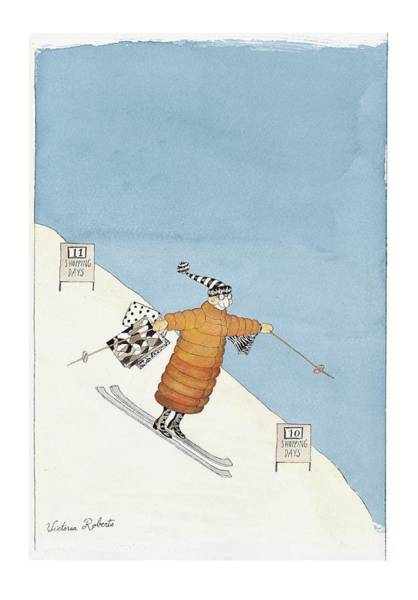 Skiing Drawing - 'shopping Days' by Victoria Roberts
