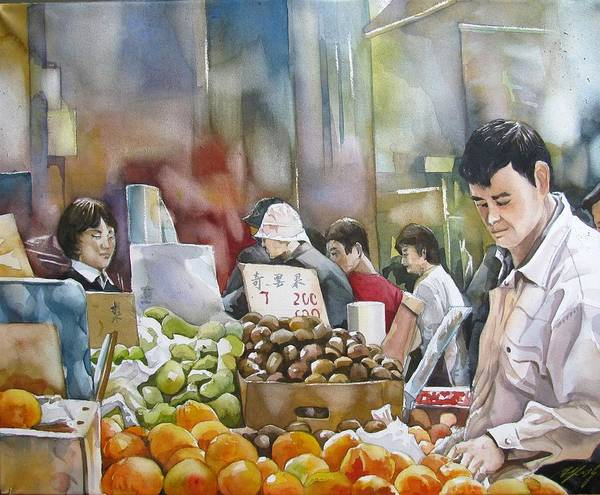 Painting - Shopping In Toronto Chinatown by Alfred Ng