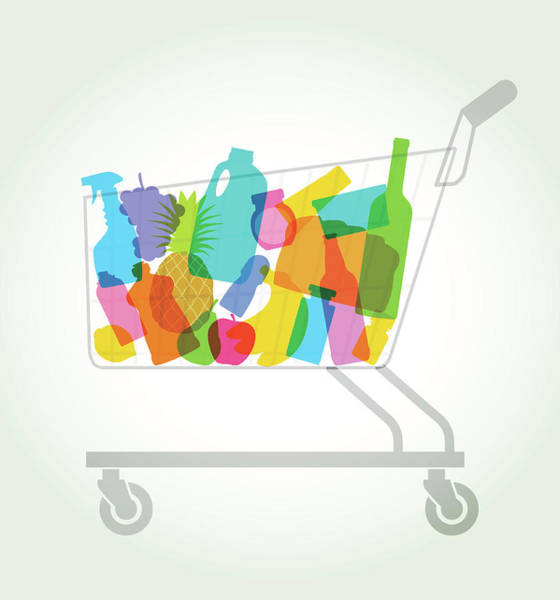 Pineapples Digital Art - Shopping Or Supermarket Trolley by Smartboy10