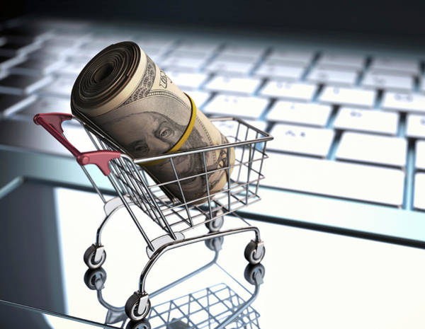 Computer Illustration Photograph - Shopping Trolley With American Dollars by Ktsdesign