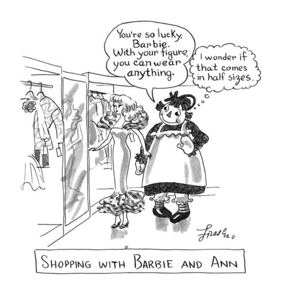 Shopping Drawing - Shopping With Barbie And Ann by Edward Frascino