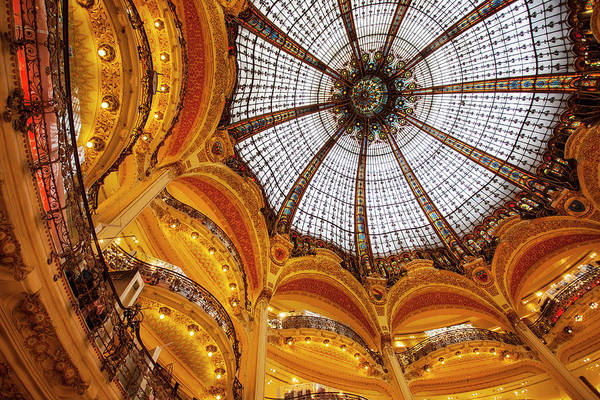 Shops And Ornate Dome In Printemps Art Print