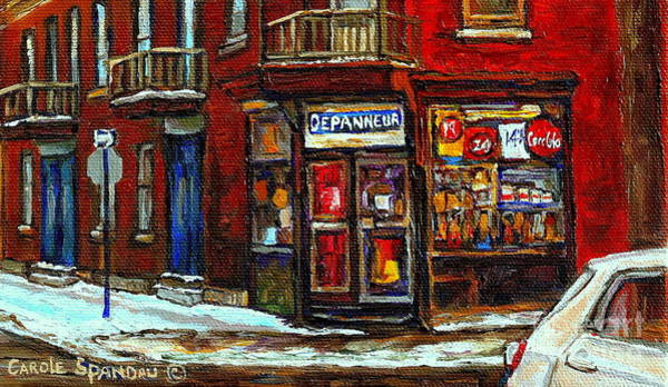 Painting - Shops And Streets Of St Henri- Montreal Paintings Depanneur Coca Cola Winter City Scenes by Carole Spandau