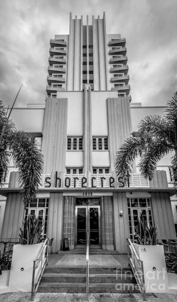Wall Art - Photograph - Shorecrest Hotel On South Beach Miami - Black And White by Ian Monk