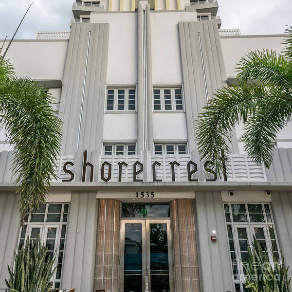 Wall Art - Photograph - Shorecrest Hotel On South Beach Miami  - Square Crop by Ian Monk