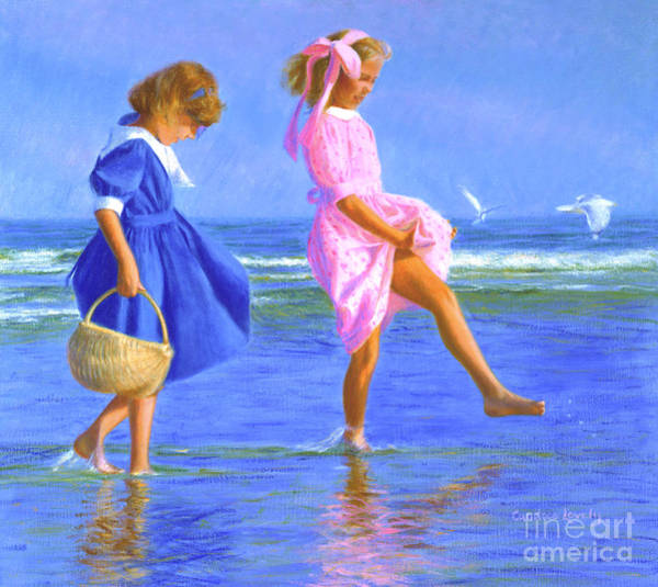 Skipping Painting - Shoreline Skippers by Candace Lovely