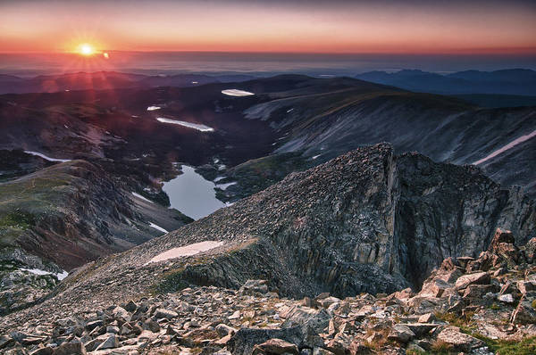 Alpenglow Photograph - Shoshoni Peak Sunrise by Mike Berenson