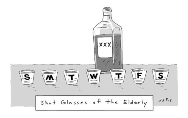 Alcohol Drawing - Shot Glasses Of The Elderly -- A Series Of Shot by Kim Warp