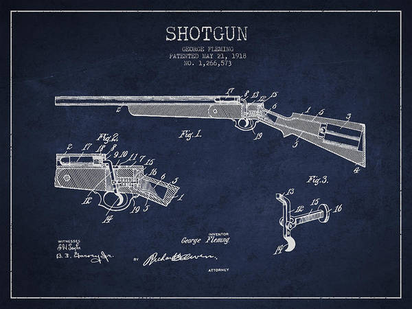 Shooting Digital Art - Shotgun Patent Drawing From 1918 by Aged Pixel