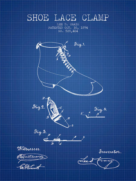 Lace Digital Art - Show Lace Clamp Patent From 1894 - Blueprint by Aged Pixel