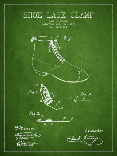 Lace Digital Art - Show Lace Clamp Patent From 1894 - Green by Aged Pixel