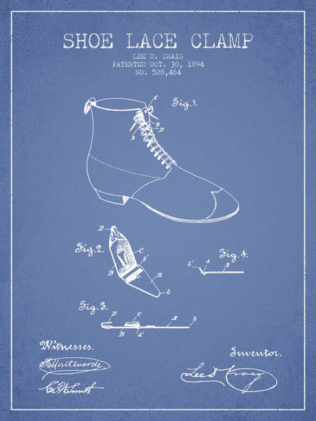 Lace Digital Art - Show Lace Clamp Patent From 1894 - Light Blue by Aged Pixel