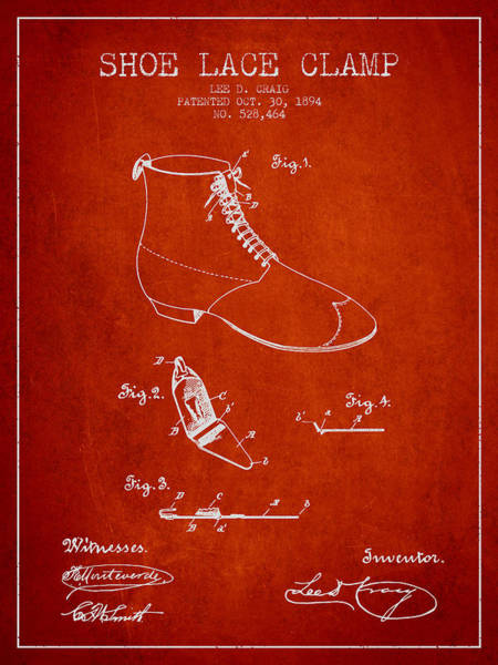 Lace Digital Art - Show Lace Clamp Patent From 1894 - Red by Aged Pixel