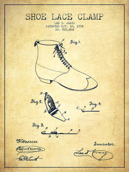 Lace Digital Art - Show Lace Clamp Patent From 1894 - Vintage by Aged Pixel
