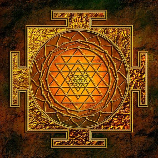 Sacred Mixed Media - Shri Yantra Gold Lakshmi by Lila Shravani