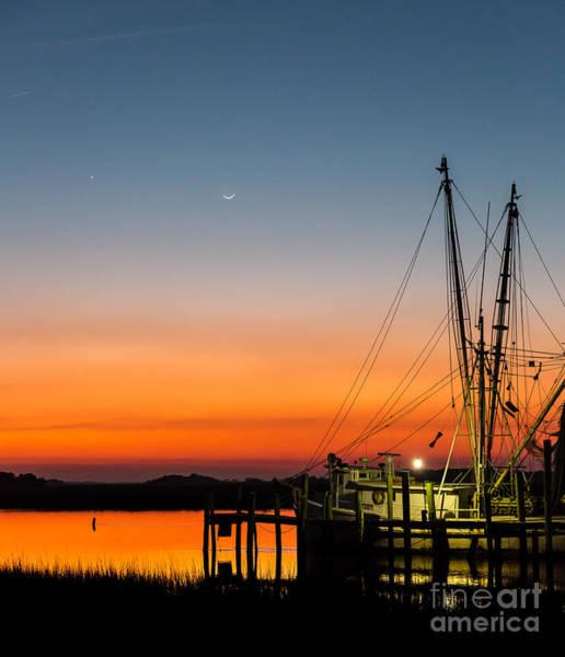 Photograph - Shrimp Boat At Dusk Folly Beach by Donnie Whitaker
