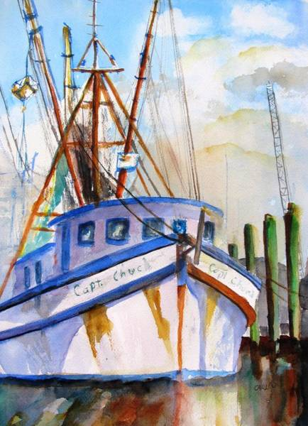 Atmospheric Painting - Shrimp Fishing Boat by Carlin Blahnik CarlinArtWatercolor