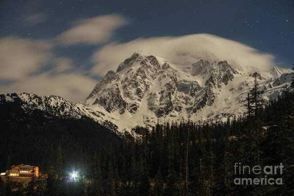 Alpenglow Photograph - Shuksan Night Moves by Mike Reid
