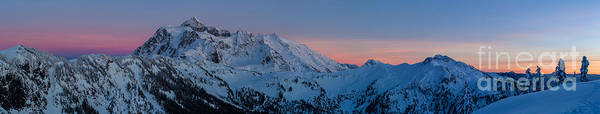Snowshoe Photograph - Shuksan Sunset Panorama by Mike Reid