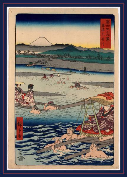 Litter Drawing - Shunen Ouigawa, Oi River In Shunen. 1858 by Utagawa Hiroshige Also And? Hiroshige (1797-1858), Japanese