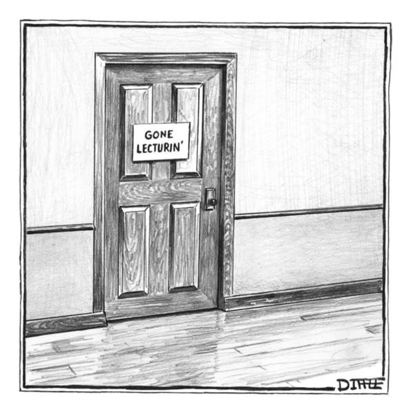 Media Photograph - Shut Door In A Hallway With A Sign That Read Gone by Matthew Diffee