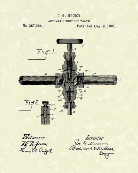 Drawing - Shut-off Valve 1887 Patent Art by Prior Art Design
