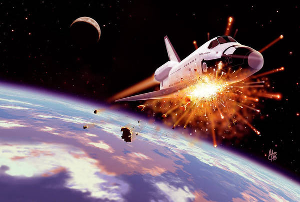 Space Shuttle Photograph - Shuttle Collision by Mark Garlick/science Photo Library