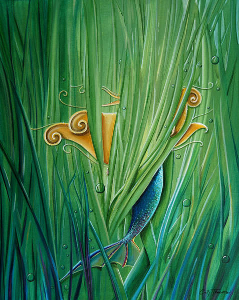 Wall Art - Painting - Shy Little Siren by Cindy Thornton