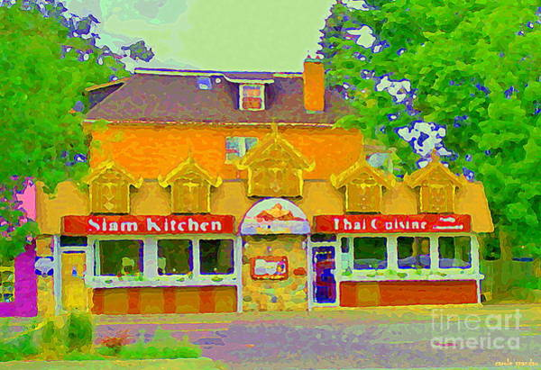 Painting - Siam Kitchen Genuine Thai Cuisine Old Ottawa South The Glebe Paintings Cafe Scenes Carole Spandau  by Carole Spandau