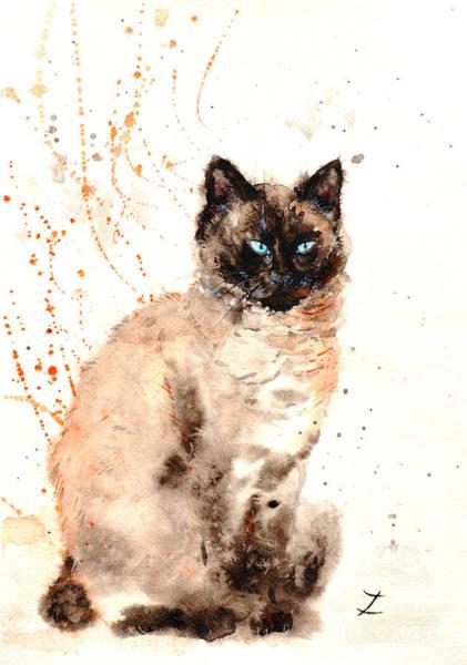 Wall Art - Painting - Siamese Beauty by Zaira Dzhaubaeva