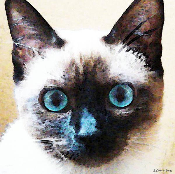 Siamese Cat Painting - Siamese Cat Art - Black And Tan by Sharon Cummings