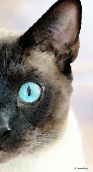 Painting - Siamese Cat Art - Half The Story by Sharon Cummings