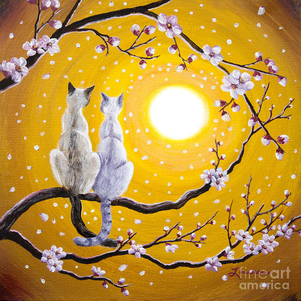 Wall Art - Painting - Siamese Cats Nestled In Golden Sakura by Laura Iverson