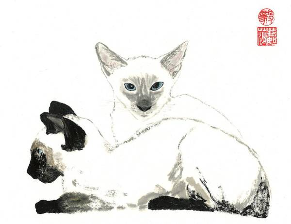 Wall Art - Painting - Siamese Cats by Terri Harris