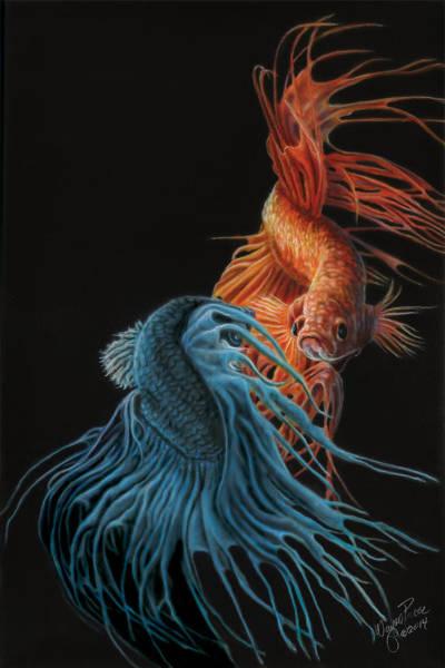 Vietnamese Painting - Siamese Fighting Fish Two by Wayne Pruse