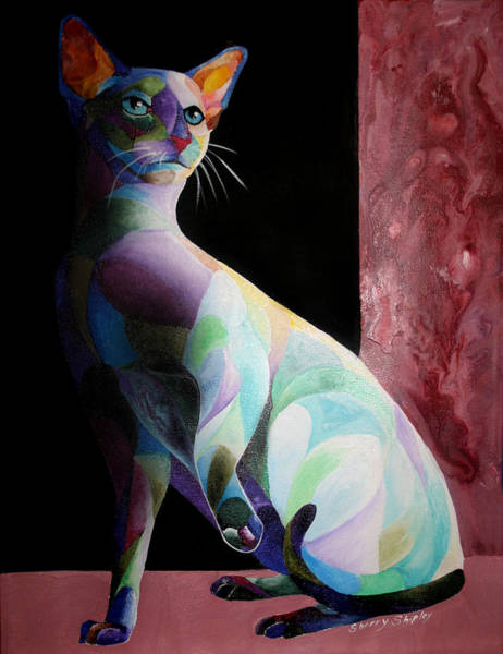 Painting - Siamese Shadow Cat 1 by Sherry Shipley