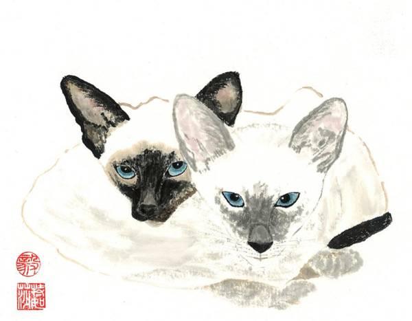 Wall Art - Painting - Siamese Sisters by Terri Harris