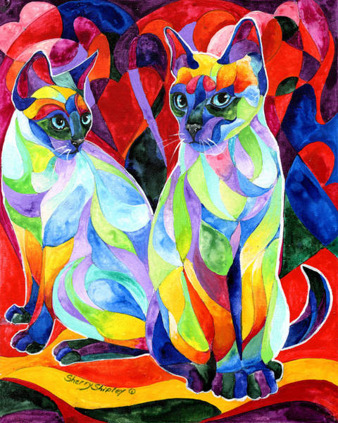Painting - Siamese Sweethearts by Sherry Shipley