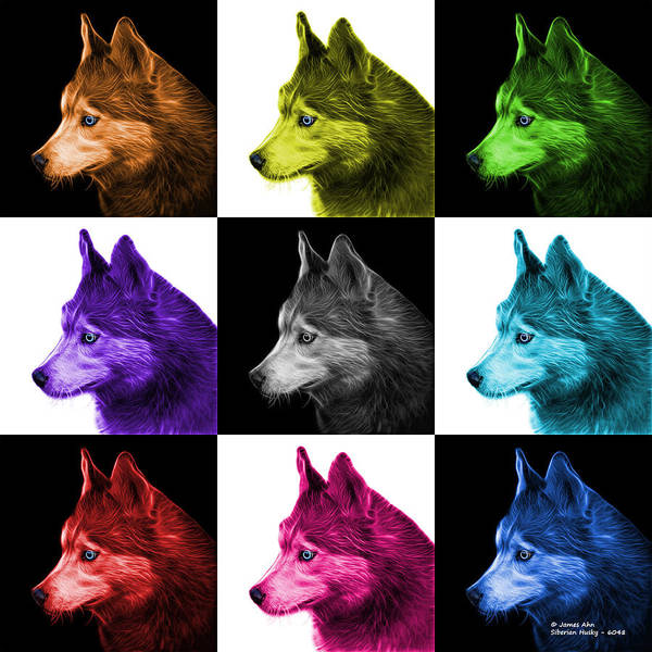 Painting - Siberian Husky Art - 6048 - V1 - M by James Ahn